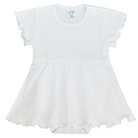 Bodyčko šaty tkané srdce bílá vel. 80 - 86