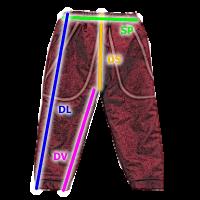 ESITO - Tabulka velikostí kalhoty šusťák
