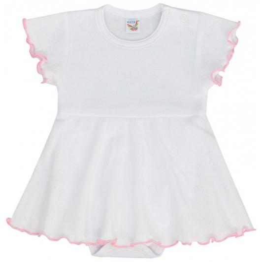 Bodyčko šaty tkané srdce bílá růžový lem vel. 80 - 86