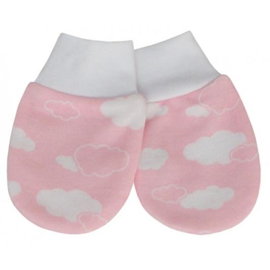 Rukavice bavlna potisk obláček růžová