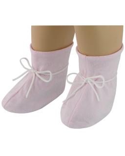 Kojenecké botičky bavlna tkané srdce růžová