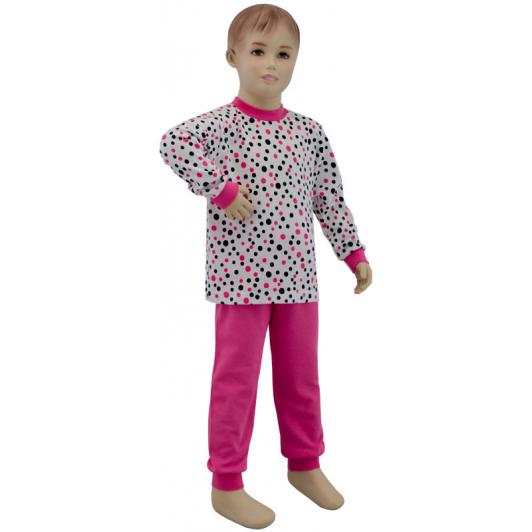 Dívčí pyžamo růžový puntík vel. 116 - 122