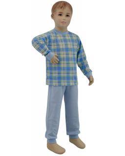 Chlapecké pyžamo modré kostky velké vel. 116 - 122