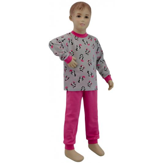 Dívčí pyžamo panda na šedé vel. 116 - 122