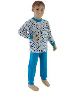 Chlapecké pyžamo tyrkysový puntík vel. 116 - 122